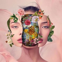 Based in Santa Catarina, Brazil, collage artist Marcelo Monreal's work is going viral for his different take on inner beauty. His latest works cut open the portraits of celebrities in Photoshop, super. Art Du Collage, Surreal Collage, Collage Artists, Surreal Art, Digital Collage, Digital Art, Collage Collage, Collage Portrait, Flower Collage