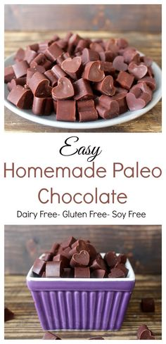 Easy Paleo Chocolate Easy Homemade Paleo Chocolate- 4 ingredients and only a few minutes to make this delicious chocolate Dessert Sans Gluten, Paleo Dessert, Dessert Recipes, Honey Dessert, Paleo Chocolate, Delicious Chocolate, Chocolate Smoothies, Chocolate Shakeology, Lindt Chocolate