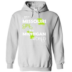 (MOXanhChuoi001) Just A ᗑ Missouri Girl In A Michigan WorldIn a/an name worldt shirts, tee shirts