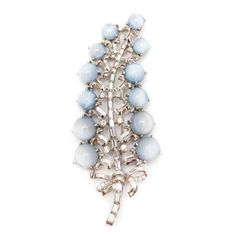 Mazer Bros Silver-Toned and Moonglow Brooch