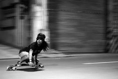 longboarding in black and white