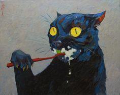 Experiments on cats, Alexander Mityaev, oil on canvas, 2016 - Art Art Bizarre, Weird Art, Pretty Art, Cute Art, Art Sketches, Art Drawings, Wow Art, Psychedelic Art, Surreal Art