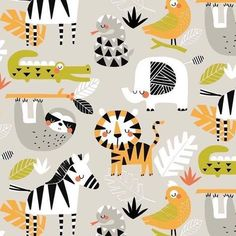 Fun Animals Safari Grey Fabric by Maude Asbury - Blend Fabrics Patchwork Fabric, Grey Fabric, Tropical Nursery, Safari Adventure, Jungle Animals, Nursery Inspiration, Quilt Top, Zebras, Fabric Weights