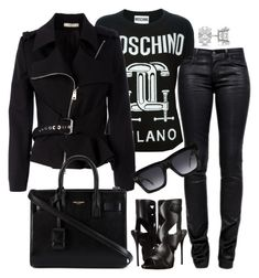"""Black and White"" by fashionkill21 ❤ liked on Polyvore featuring J Brand, Moschino, Bouchra Jarrar, Giuseppe Zanotti, CÉLINE, Yves Saint Laurent and Allurez"