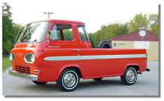 1965 Ford Econoline Pickup Deluxe Version Inline 6 cyl Three on tree Ford Lincoln Mercury, Vintage Vans, Vintage Trucks, Ford Classic Cars, Classic Trucks, Old Ford Trucks, Pickup Trucks, Ford Mustang, Little Truck