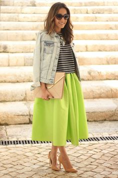 Lime Green Midi Skirt With Stripes Blouse & Denim Top