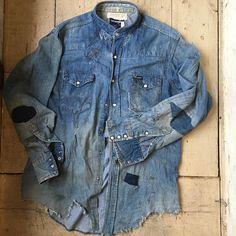 Patched Denim, Men's Denim, Denim Shirt, Custom Clothing Design, Custom Clothes, Denim Vest Men, Denim Ideas, Upcycled Clothing, Nike Outfits
