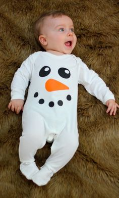 Cute Snowman Baby Sleepsuit, Baby in white sleepsuit with funky snowman/ christmas face to front