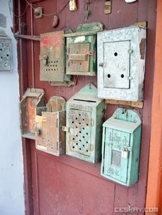 Vintage mail boxes. I want them all!