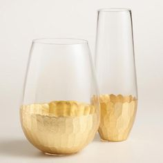 One of my favorite discoveries at WorldMarket.com: Gold Faceted Stemless Glassware Collection