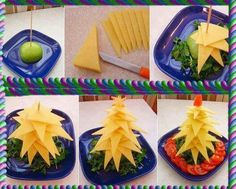 DIY Edible Christmas Tree Platter tutorials: Fruit Christmas Tree, Appetizer Christmas Tree to serve your holiday table feast. Fruit Christmas Tree, Christmas Cheese, Creative Christmas Trees, Christmas Party Food, Xmas Food, Christmas Appetizers, Appetizers For Party, Christmas Treats, Christmas Diy