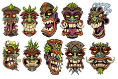 Vector Jungle Tiki Heads is an awesome graphic to put on any surfboard, skateboard or T-shirt. Totem Tattoo, Tiki Tattoo, Tiki Maske, Tiki Faces, Tiki Head, Tiki Statues, Tiki Totem, Mask Drawing, Tiki Decor