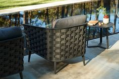 Manutti // Black patio lounge chair. With its woven rope pattern, the cascade sofas ooze style and comfort - Cascade Collection #outdoorfurniture #outdoorluxury Patio Lounge Chairs, Outdoor Lounge, Outdoor Chairs, Outdoor Furniture, Outdoor Decor, White Rope, Lava, Ottoman, Luxury