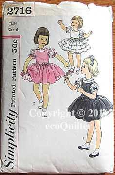 RARE Vintage 50's Child's, Girl's Party Dress and Jumper, Simplicity 2716 Sewing Pattern UNCUT Size 6