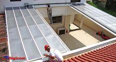 cobertura com policarbonato retratil - Pesquisa Google Carport Patio, Small Balcony Garden, Patio Shade, Roof Window, Outdoor Living, Outdoor Decor, House Roof, Interior Design Inspiration, Exterior
