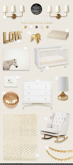Baby Ziebka Ivory & Gold Neutral Nursery | The Moon & The Honey