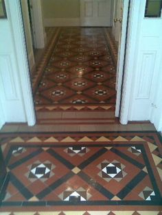 120 year old Minton floor tiles restored to there original glory. Also protected against future wear by using a secret 60 year old italian tile formula. Hall Tiles, Victorian Tiles, Floor Tile Design, Flooring, Tiles, Tiled Hallway, Interior, Minton Tiles, Hallway Decorating