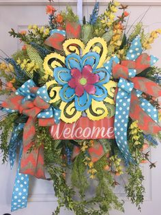 Welcome Spring or Summer Yellow and Orange Mesh Wreath by WilliamsFloral on Etsy https://www.etsy.com/listing/287007495/welcome-spring-or-summer-yellow-and