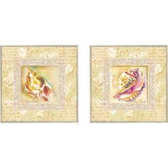 Pro Tour Memorabilia Bath Antiqua Conch Framed Art (Set of 2) - 1-6872