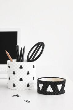Stiftebecher aus Bügelperlen weben