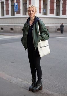 """""""The 90s inspires me. I like to wear really high heels and bomber jackets. I have a similar jacket in three different colours.    My style is careless. I don't follow fashion."""""""