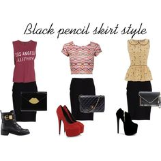 Black Pencil Skirt Style by reemtaha on Polyvore