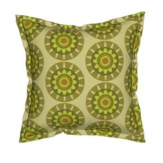 Serama Throw Pillow featuring olive geo flower by dnbmama | Roostery Home Decor