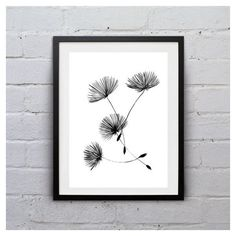Dandelion Minimalist one flower art Black white Printable floral wall... ($6) ❤ liked on Polyvore featuring home, home decor and wall art