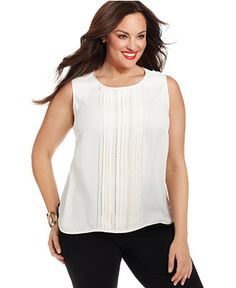Jones New York Collection Plus Size Lace Pintucked Shell - Tops - Plus Sizes - Macy's