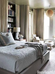 Modern Traditional Bedroom in a Victorian rowhouse in Washington, D.C., designer Barry Dixon.