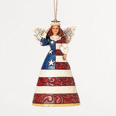 Jim Shore Star Spangled Beauty Patriotic Angel Saluting Christmas Ornament