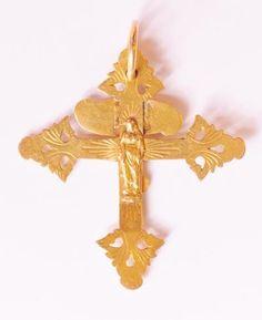 bijou régional, croix grille de Chambéry, poinçon soleil de Chambery, 16.5g, 60 x 65mm, poinçon soleil de Chambery