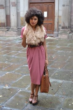 Fur stole! Blush pink dress. Shoes.