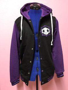 BOOP! Sombra inspired varsity style hoodie jacket. Polyester Fleece backed, very similar to a LIGHT WEIGHT sweatshirt. Two functioning front pockets, button snap front and drawstring hood. This Jacket has a light stretch for comfort and fit. ***PLEASE ALLOW 2-3 weeks for this jacket to be made and shipped. NO rush orders will be taken on this item, I apologize for the inconvenience!***  PLEASE check this size chart for your size! Small: Max 37 bust, Length 22.5 long, Sleeves 22.5 long…