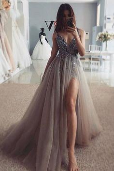 sleeveless v-neck tulle long evening dress beaded spaghetti-straps slit-skirt long prom dress party dress Pretty Prom Dresses, Prom Party Dresses, Ball Dresses, Elegant Dresses, Sexy Dresses, Dress Party, Prom Dreses, V Neck Prom Dresses, Neutral Prom Dresses