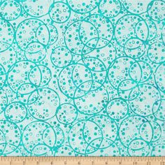 Bali Batiks Dotty Rings Earth Day from @fabricdotcom  Designed for Hoffman International Fabrics, this Indonesian batik is perfect for quilting, craft projects, apparel and home décor accents. Colors include shades of turquoise and aqua.