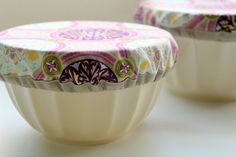 """sewn covers for bowls, when you need to keep out the flies or transport your item to a potluck. Saved under """"sewing"""" and seen on The Cottage Home."""
