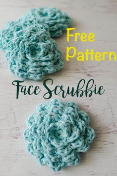 Crochet For Beginners Free pattern for crochet face scrubbies - Gorgeous free crochet face scrubbier pattern. Makes an excellent re-usable face wash cloth. Can also be used as an embellishment on a project. Crochet Faces, Love Crochet, Crochet Gifts, Easy Crochet, Crochet Flowers, Knit Crochet, Scrubbies Crochet Pattern, Crochet Dishcloths, Cotton Crochet Patterns