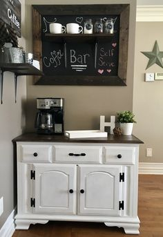 Solid maple coffee bar finished with dark walnut minwax stain and chalk paint