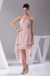 2013 New Arrival High-low Ruched Pink Maid of Honor Dresses