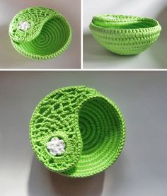 Crochet Jewelry Dish Rope Basket. Home Decor Bright por goolgool