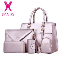 dd34a49646fa 2017 New 5 Pcs Women Handbags Set Famous Brand Designer PU Women Bag Set  Good Quality Shoulder Bag Women Bags 7 colors