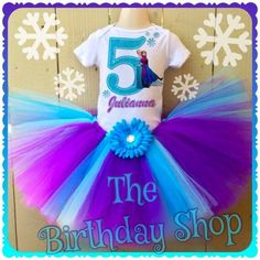 Disney Frozen tutu set, Frozen birthday outfit turquoise purple