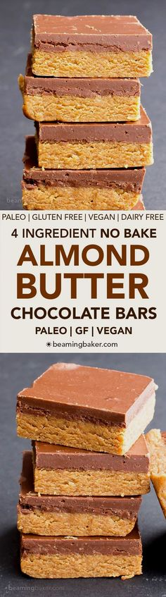 No Bake Paleo Chocol No Bake Paleo Chocolate Almond Butter Bars (V, GF, Paleo): a 4-ingredient no bake recipe for thick, decadent almond butter bars topped with chocolate. #Vegan #Paleo #GlutenFree #DairyFree | BeamingBaker.com https://www.pinterest.com/pin/31947478590270710/