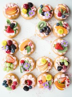 Pretty donuts!  Dress up donuts with fresh fruit for a pretty summer party idea! #summerpartyideas #donuts #dessertideas