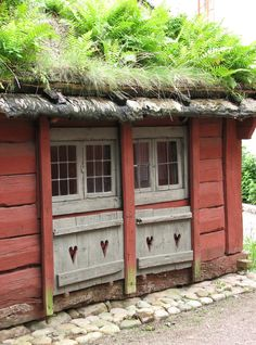 Windows at Skansen in Stockholm, Sweden. Living Roofs, Living Walls, Swedish House, Scandinavian Home, Windows And Doors, Norway, Parks, Shed, Around The Worlds