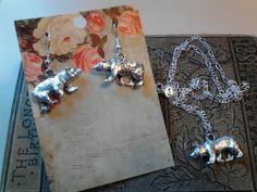 Bear necklace and earrings
