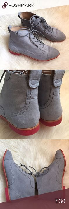 """Gray & Pink Suede Lace-Up Ankle Boot New never worn. In excellent condition, however minor marking on one side. Faux suede gray boots with pink rim lining on bottom and heel. Lace up front. Heel height .5"""" Height from bottom heel to top of boot is 5""""❌NO TRADES OR PAYPAL❌ Forever 21 Shoes Ankle Boots & Booties"""