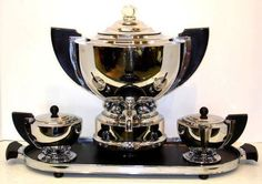 Manning Bowman 4 PC Coffee Set, Chrome and Bakelite, 1930's