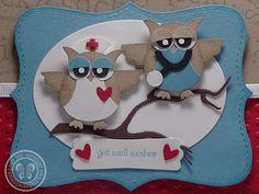 Uilen:dokter en zuster  # beterschapskaart#